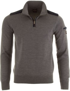 Paul & Shark Velour Contrast Pullover Mid Grey