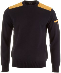Paul & Shark Velour Shoulder Contrast Pullover Navy