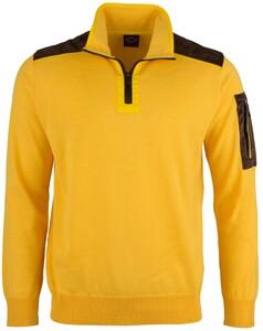 Paul & Shark Velours Contrast Zipper Pullover Yellow