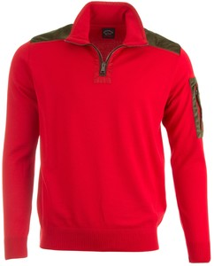 Paul & Shark Velours Contrast Zipper Trui Rood