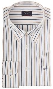 Paul & Shark White Font Fine Stripe Shirt Blue-Khaki