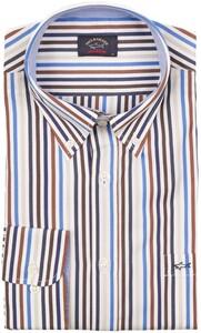 Paul & Shark Yachting Stripe Overhemd Coffee