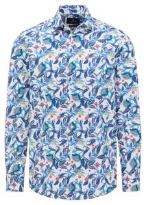 Pierre Cardin Bold Fantasy Paisley Floral Pattern Shirt Blue-White