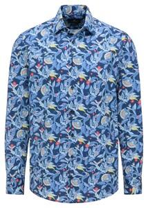 Pierre Cardin Bold Fantasy Paisley Floral Pattern Shirt Dark Blue-Blue