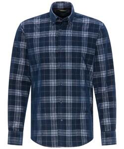 Pierre Cardin Button Down Denim Academy Check Overhemd Donker Blauw