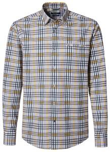 Pierre Cardin Button Under Check Shirt Navy-Yellow