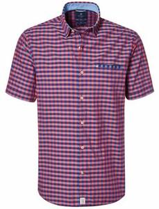 Pierre Cardin Check Short Sleeve Button Under Shirt Blue-Red