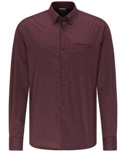 Pierre Cardin Denim Academy Minimal Fantasy Dot Overhemd Bordeaux