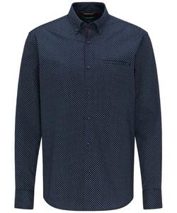 Pierre Cardin Denim Academy Minimal Fantasy Dot Overhemd Donker Blauw