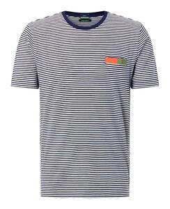 Pierre Cardin Denim Academy Striped Breast Pocket Contrast T-Shirt Navy Blue Melange