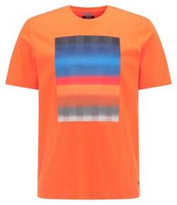 Pierre Cardin Fantasy Stripe Print Round Neck T-Shirt Bittersweet Orange