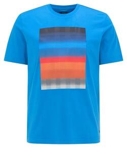 Pierre Cardin Fantasy Stripe Print Round Neck T-Shirt Brilliant Blue