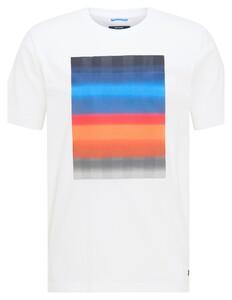 Pierre Cardin Fantasy Stripe Print Round Neck T-Shirt Wit