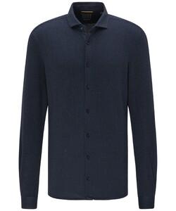 Pierre Cardin Fine Patterned Jersey Voyage Overhemd Donker Blauw