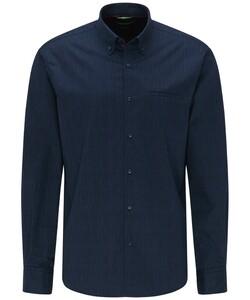 Pierre Cardin Fine Stripe Button Down Denim Academy Overhemd Donker Blauw