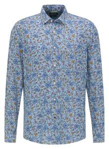 Pierre Cardin Floral Denim Academy Overhemd Blauw