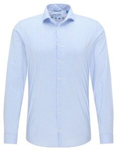 Pierre Cardin Futureflex Climacontrol Check Overhemd Licht Blauw