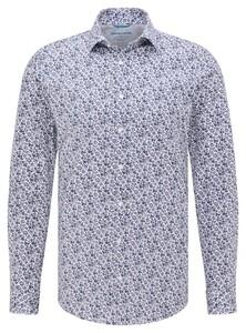 Pierre Cardin Futureflex Fine Leaf Pattern Shirt Dark Evening Blue