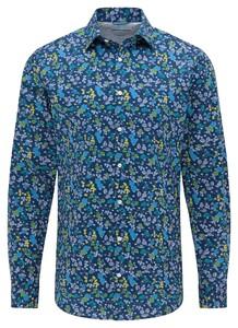 Pierre Cardin Futureflex Floral Overhemd Donker Blauw-Blauw