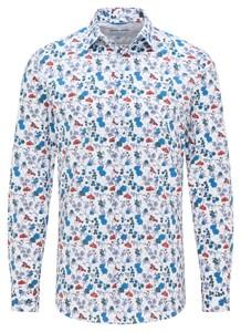 Pierre Cardin Futureflex Floral Overhemd Wit-Blauw