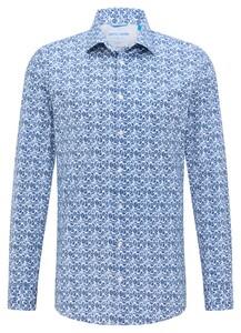 Pierre Cardin Futureflex Leaf Fantasy Overhemd Blauw