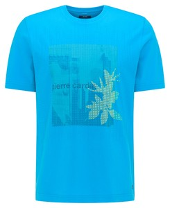 Pierre Cardin Jersey Round Neck Fantasy Print T-Shirt Bahamas Blue
