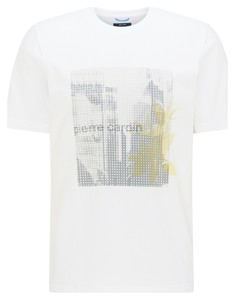 Pierre Cardin Jersey Round Neck Fantasy Print T-Shirt White
