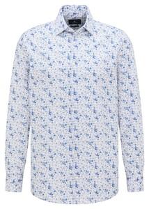Pierre Cardin Kent Fine Floral Fantasy Overhemd Wit-Blauw