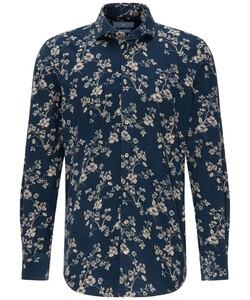 Pierre Cardin Le Bleu Baby Cord Floral Fantasy Overhemd Donker Blauw