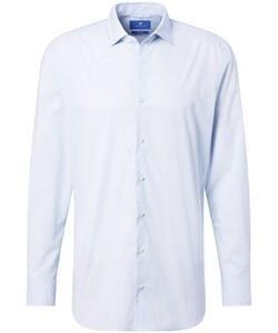 Pierre Cardin Le Bleu Fine Check Overhemd Licht Blauw