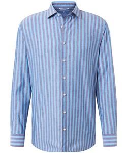 Pierre Cardin Le Bleu Katoen Linnen Streep Overhemd Blauw