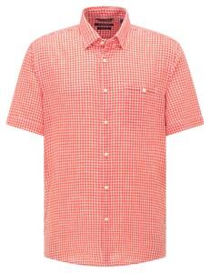 Pierre Cardin Linen Look Cotton Check Button Under Airtouch Shirt Salmon