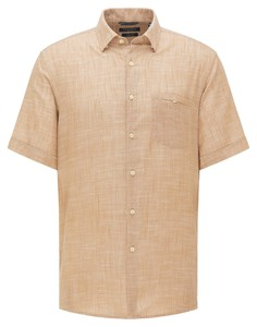 Pierre Cardin Linnen Look Katoen Button Under Airtouch Overhemd Camel