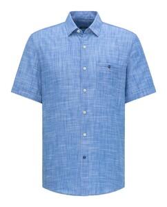 Pierre Cardin Linnen Look Katoen Button Under Airtouch Overhemd Midden Blauw