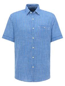 Pierre Cardin Linnen Look Katoen Ruit Button Under Airtouch Overhemd Midden Blauw