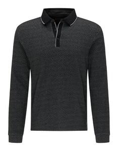 Pierre Cardin Longsleeve Interlock Bicolor Jacquard Diamond Poloshirt Black