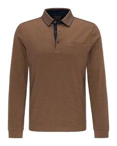 Pierre Cardin Longsleeve Interlock Bicolor Stripe Polo Cognac