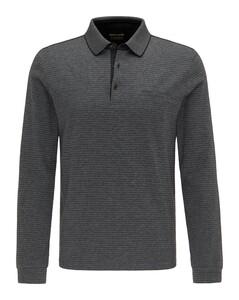 Pierre Cardin Longsleeve Interlock Bicolor Stripe Poloshirt Black