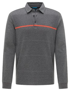 Pierre Cardin Longsleeve Interlock Futureflex Stripe Poloshirt Shell Grey
