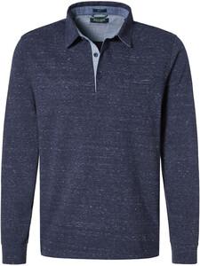 Pierre Cardin Longsleeve Polo Jersey Jacquard Polo Blauw