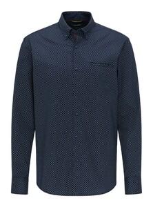 Pierre Cardin Minimal Dot Denim Academy Shirt Navy