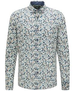 Pierre Cardin Modern Casual Denim Academy Floral Overhemd Blue-Olive