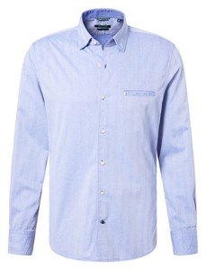 Pierre Cardin Modern Herringbone Overhemd Blauw