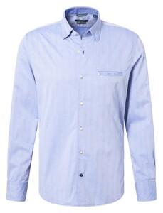 Pierre Cardin Modern Herringbone Shirt Blue