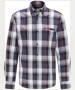 Pierre Cardin Multi Check Twill Denim Academy Overhemd Blauw-Rood