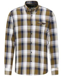 Pierre Cardin Multi Check Twill Denim Academy Overhemd Olive-Blue
