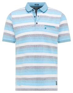 Pierre Cardin Multistripe Pique Airtouch Polo Ice Blue