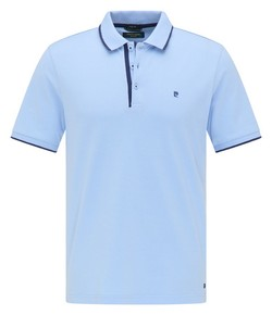 Pierre Cardin Piqué Airtouch Uni Fine Contrast Polo Licht Blauw