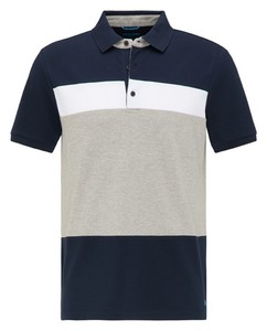 Pierre Cardin Piqué Futureflex Block Stripe Polo Navy Blue Melange