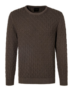 Pierre Cardin Round Neck Voyage Cable Sweater Trui Bruin